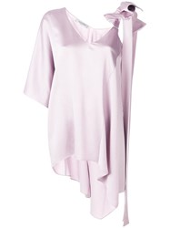Valentino One Shoulder Bow Blouse Pink And Purple