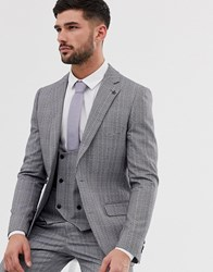 Penguin Original Slim Fit Grey Textured Over Check Suit Jacket