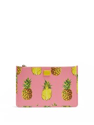 Dolce And Gabbana Pineapple Print Leather Pouch Pink Multi