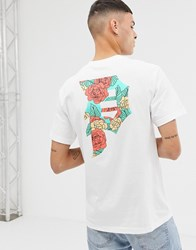 Primitive Primtiive T Shirt With Large Floral Logo Back Print In White