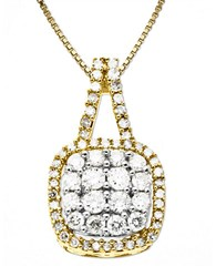 Lord And Taylor 14 Kt. Gold Diamond Square Pendant Necklace
