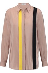Msgm Color Block Washed Silk Blouse Neutral