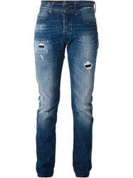 7 For All Mankind Distressed Slim Fit Jeans Blue