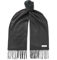 Richard James Fringed Silk And Cashmere Blend Scarf Gray