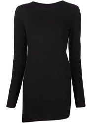 Forme D'expression Fine Ribbed Asymmetric Hem Top Black