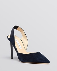 Diane Von Furstenberg Pointed Toe Slingback Pumps Blaire High Heel Navy