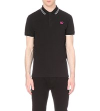 Mcq By Alexander Mcqueen Swallow Embellished Cotton Polo Shirt Darkest Black