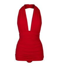 Norma Kamali Bill Halter Neck Swimsuit Female Red