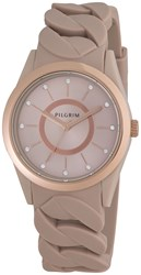 Pilgrim Rose Gold Plated Brown Silicon Watch Brown