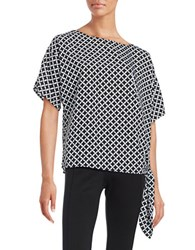 Michael Michael Kors Houndstooth Print Side Tie Top Black