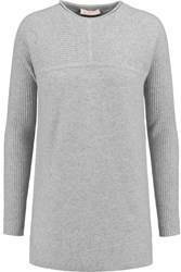 Tory Burch Deanna Ribbed Paneled Cashmere Sweater Gray