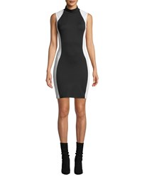 Kendall Kylie Mock Neck Bodycon Colorblock Dress Black