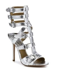 Michael Kors Metallic Snakeskin Gladiator Sandals Silver