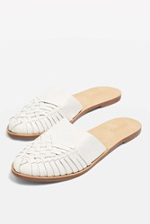 Topshop Amie Woven Mules White