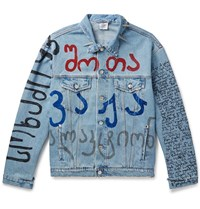 Vetements Oversized Embellished Printed Denim Jacket Blue
