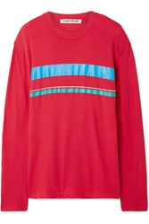 Elizabeth And James Melody Striped Cotton Jersey Top Red