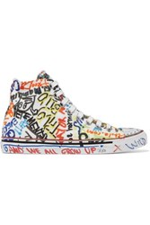 Vetements Printed Canvas High Top Sneakers White