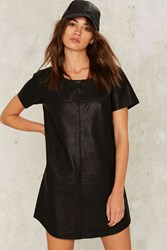 Nasty Gal Crew Baby Vegan Leather Dress Black