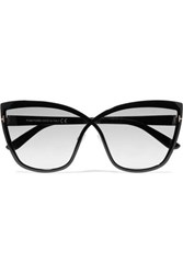 Tom Ford Sandrine Cat Eye Acetate And Gold Tone Sunglasses Black
