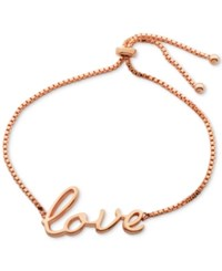 Giani Bernini Adjustable 'Love' Script Bracelet In Sterling Silver Rose Gold