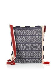Star Mela Bea Large Embroidered Cotton Crossbody Bag Navy Multi