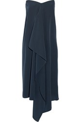 Tibi Asymmetric Silk Crepe De Chine Strapless Dress Midnight Blue