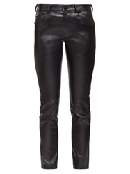 Saint Laurent Slim Leg Leather Trousers Black