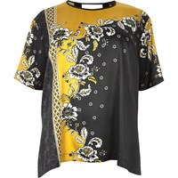 River Island Womens Ri Plus Yellow Floral Print Silky Top