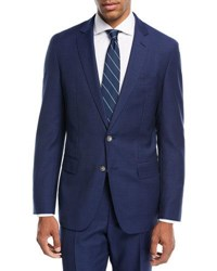 Boss Broken Plaid Two Piece Wool Suit Blue