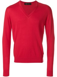 Versace V Neck Jumper Red