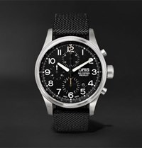 Oris Big Crown Propilot Chronograph 44Mm Stainless Steel And Nylon Watch Black