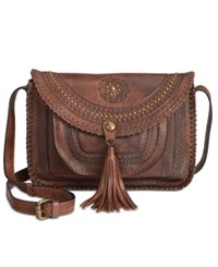 Patricia Nash Distressed Vintage Beaumont Flap Crossbody Chocolate
