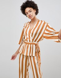 Moss Copenhagen Wrap Front Top In Satin Stripe Co Ord Caramel And White Brown