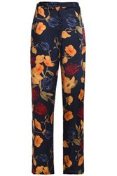 Mother Of Pearl Floral Print Silk Crepe De Chine Straight Leg Pants Midnight Blue