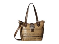 American West Trading Post Convertible Zip Top Bucket Tote Sand Distressed Charcoal Brown Tote Handbags