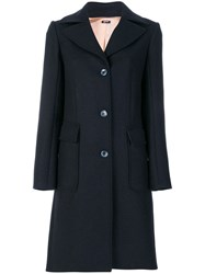 Jil Sander Navy Double Breasted Coat Acrylic Polyamide Polyester Wool Blue