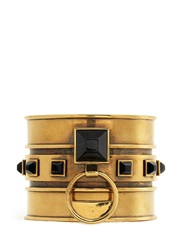 Alexander Mcqueen Tiger Eye Stone Brass Cuff Black Metallic