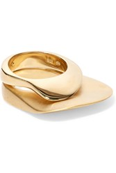 Charlotte Chesnais Set Of Three Gold Plated Rings