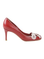 Sarah Chofakian Round Toe Pumps Red