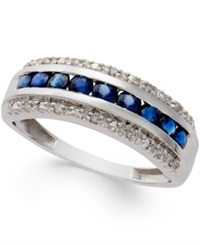 Macy's Sapphire 5 6 Ct. T.W. And Diamond Accent Band In 14K White Gold