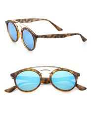 Ray Ban 46Mm Gatsby Mirrored Sunglasses Havana Blue Green Havana