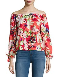 Yumi Kim Floral Printed Off The Shoulder Top Blue