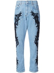 Moschino Lace Detail Boyfriend Jeans Blue