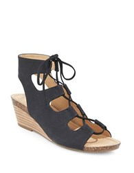 Me Too Tami Leather Wedge Ghillie Sandals Black