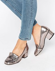 Office Monty Buckle Fringe Metallic Mid Heeled Loafers Pewter Metallic Pu Silver