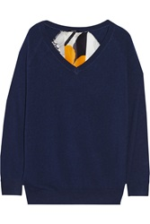 Raoul Printed Silk Paneled Knitted Sweater Blue