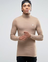 Asos Extreme Muscle Long Sleeve T Shirt With Roll Neck With Embroidery In Tan Tan Brown