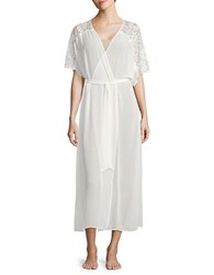 Flora Nikrooz Tie Front Lace Accented Robe Natural