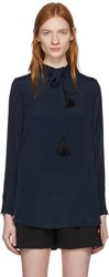 See By Chloe Navy Tassel Bow Blouse