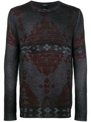 Avant Toi Faded Tapestry Print Sweater Black